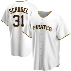 A.J. Schugel Pittsburgh Pirates Men's Replica Home Jersey - White