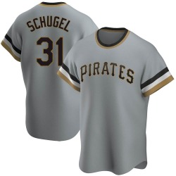 A.J. Schugel Pittsburgh Pirates Men's Replica Road Cooperstown Collection Jersey - Gray