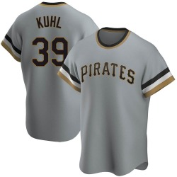Chad Kuhl Pittsburgh Pirates Men's Replica Road Cooperstown Collection Jersey - Gray