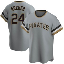 Chris Archer Pittsburgh Pirates Men's Replica Road Cooperstown Collection Jersey - Gray