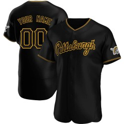 Custom Pittsburgh Pirates Men's Authentic Alternate Team Jersey - Black