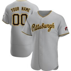 Custom Pittsburgh Pirates Men's Authentic Road Jersey - Gray