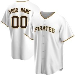 Custom Pittsburgh Pirates Men's Replica Home Jersey - White