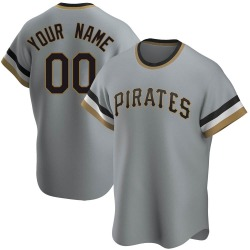 Custom Pittsburgh Pirates Men's Replica Road Cooperstown Collection Jersey - Gray