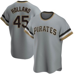 Derek Holland Pittsburgh Pirates Men's Replica Road Cooperstown Collection Jersey - Gray