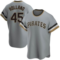 Derek Holland Pittsburgh Pirates Youth Replica Road Cooperstown Collection Jersey - Gray