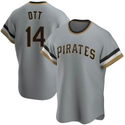 Ed Ott Pittsburgh Pirates Men's Replica Road Cooperstown Collection Jersey - Gray