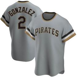 Erik Gonzalez Pittsburgh Pirates Men's Replica Road Cooperstown Collection Jersey - Gray