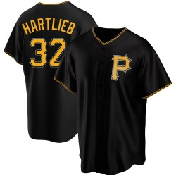 Geoff Hartlieb Pittsburgh Pirates Men's Replica Alternate Jersey - Black