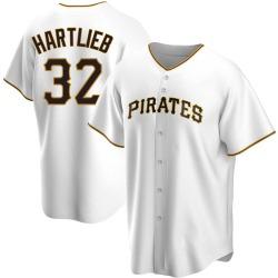 Geoff Hartlieb Pittsburgh Pirates Men's Replica Home Jersey - White