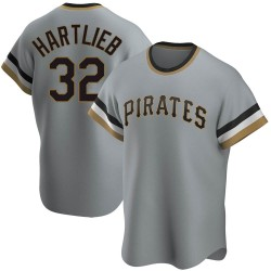 Geoff Hartlieb Pittsburgh Pirates Men's Replica Road Cooperstown Collection Jersey - Gray