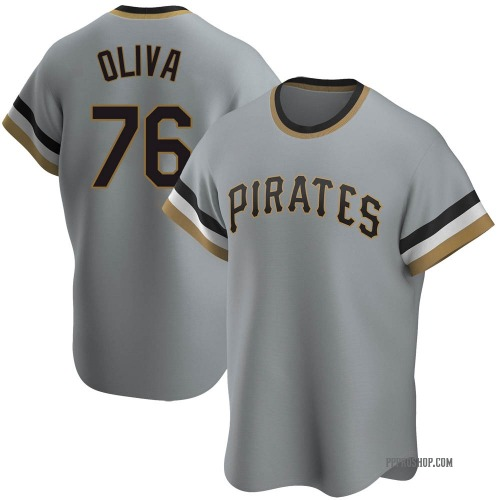 Jared Oliva Pittsburgh Pirates Men's Replica Road Cooperstown Collection Jersey - Gray