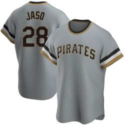 John Jaso Pittsburgh Pirates Men's Replica Road Cooperstown Collection Jersey - Gray