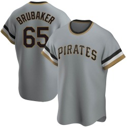 JT Brubaker Pittsburgh Pirates Men's Replica Road Cooperstown Collection Jersey - Gray
