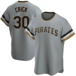 Kyle Crick Pittsburgh Pirates Men's Replica Road Cooperstown Collection Jersey - Gray