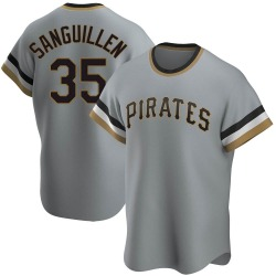 Manny Sanguillen Pittsburgh Pirates Men's Replica Road Cooperstown Collection Jersey - Gray