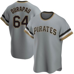 Montana DuRapau Pittsburgh Pirates Men's Replica Road Cooperstown Collection Jersey - Gray
