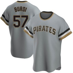 Nick Burdi Pittsburgh Pirates Men's Replica Road Cooperstown Collection Jersey - Gray