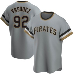 Pedro Vasquez Pittsburgh Pirates Men's Replica Road Cooperstown Collection Jersey - Gray