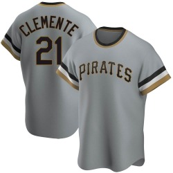 Roberto Clemente Pittsburgh Pirates Men's Replica Road Cooperstown Collection Jersey - Gray