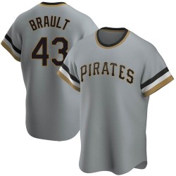 Steven Brault Pittsburgh Pirates Men's Replica Road Cooperstown Collection Jersey - Gray